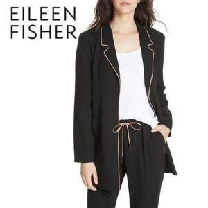 🆕Eileen Fisher Long Piped Trim Silk Casual Blazer